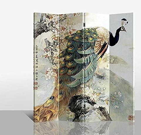 Fine Asianliving séparateur de pièce Paravent pliable écran Paon Arbre 4panneaux (180x 160cm) meubles Home Decor Imprimé sur toile écrans recto verso bilatéral Oriental asiatique chinois Style japonais (Toile) (sur toile)
