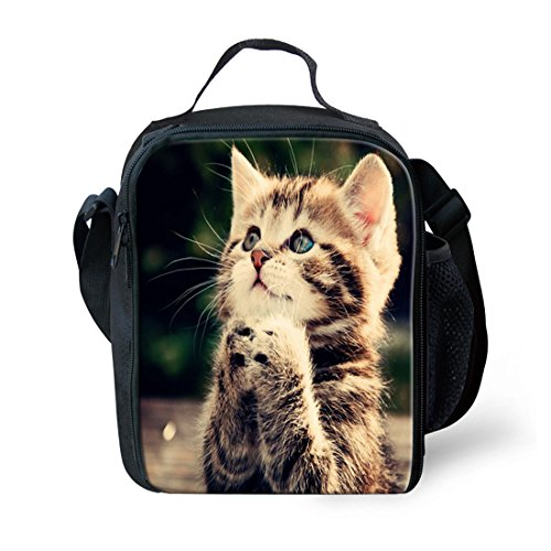 nopersonality Isolierte Lunchtasche für Kinder kleine Fancy Animal Print Lunchbox Staubbeutel Größe S katze