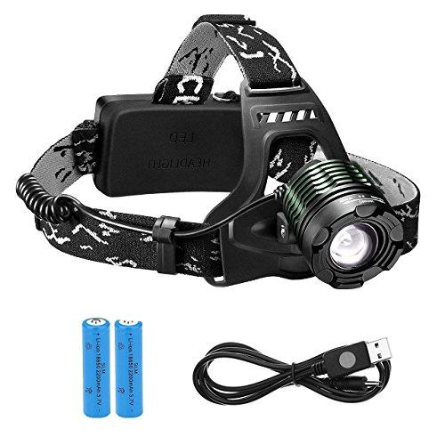 Linterna Frontal LED, VicTsing linterna de cabeza 3000 Lúmenes, La batería dura alrededor de las 6 HORAS y Hasta 300 Metros Para Camping, Pesca, Ciclismo, Carrera, Caza, etc.