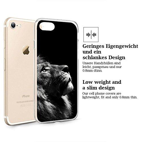 finoo   iPhone 6 und 6S Weiche flexible Silikon-Handy-Hülle   Transparente TPU Cover Schale mit Motiv   Tasche Case Etui mit Ultra Slim Rundum-schutz   Queen Löwe V2