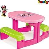 Disney Minnie Maus Picknicktisch, für bis 4 Kinder, UV-stabiles Material:Sitz Garnitur für 4 Kinder Picknick Tisch Sitzgruppe Gartentisch