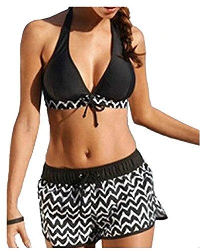 Babolala Damen Bikini-Set XXX-Large Gr. Small, schwarz (Floral Bra Elle)