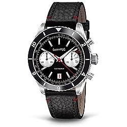 Clock Eberhard contograf 31069550mm Automatic Steel quandrante Black Leather Strap