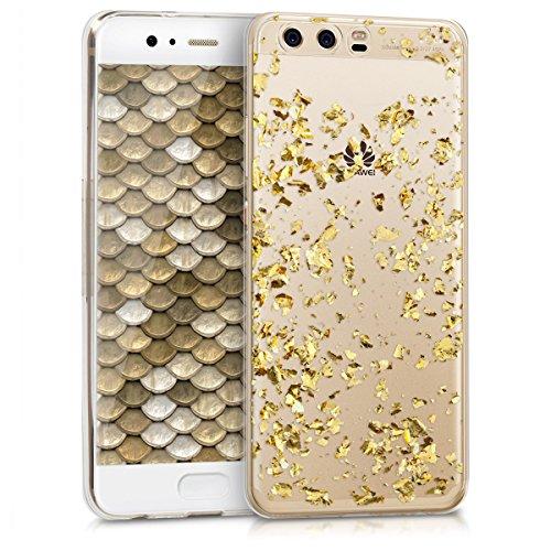 kwmobile Hülle für Huawei P10 - TPU Silikon Backcover Case Handy Schutzhülle - Cover klar Flocken Design Gold Transparent