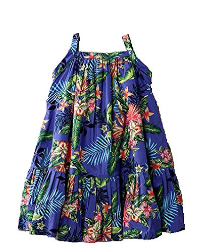 Mom's Girl Girls Dresses Purple Tropical Print Girls Frocks With Floral Print, Girls Frocks, Party wear dresses, New Born Dresses (6-12 Months)