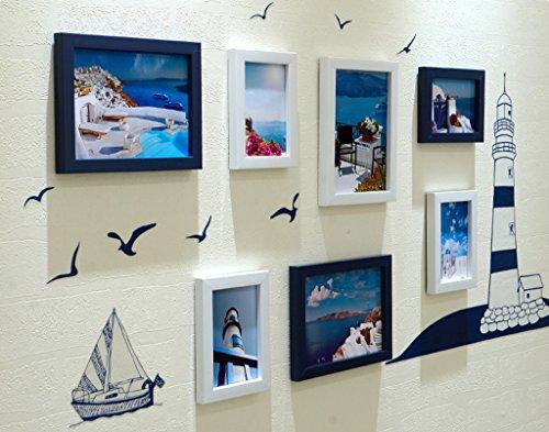 Photo Wall GAO JI FENG 7 Fotorahmen-Wand-Galerie-Kit enthält: Rahmen, hängende Wand-Schablone, Kunst-Malerei-Kern