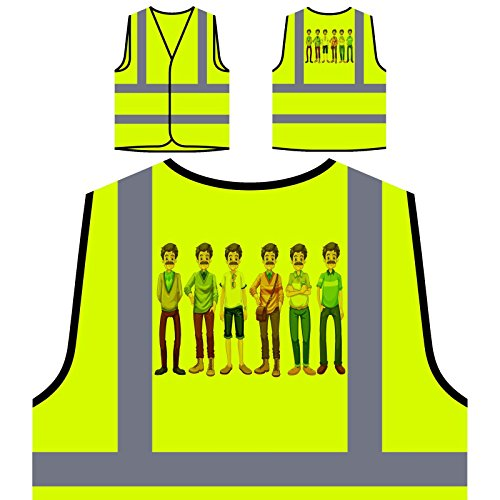 Alten Kostüme Westen (Alter Mann mit verschiedenen Kostümen Personalisierte High Visibility Gelbe Sicherheitsjacke Weste)