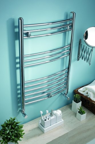 chrome 500 x 750 curved heated towel rail