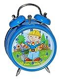 Unbekannt Kinderwecker Bob der Baumeister - für Kinder Metall Wecker Analog - Alarm Kinderwecker Metallwecker - Baustelle Jungen Baufahrzeuge blau