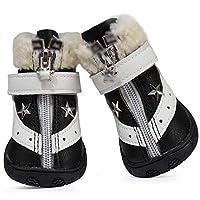 Mike Wodehous Dog Cotton Shoes, Super Fiber Skin Composite Thick Velvet, Warm And Comfortable Fashion Pet Shoes Dog Boots (Color : Black, Size : 3#)