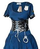 Sexy Cop Kostüm von Emmas Garderobe - Polizei Kostüm mit blauem Kleid und schwarzem Korsett, Hut, Plastikhandschellen und Schlagstock - für Frauen - mit hochwertigen Materialien - UK Größen 8-12 (Women: 36)
