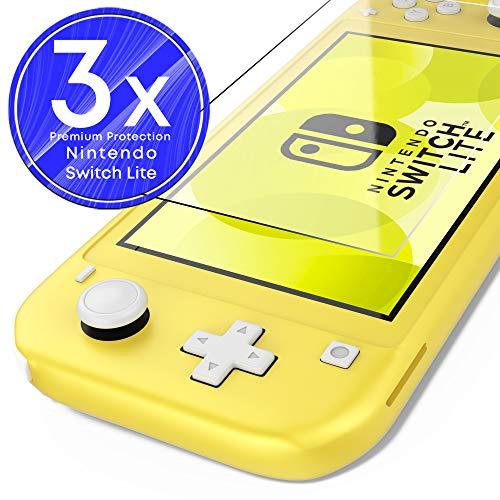 UTECTION 3X Schutzglas Folie für Nintendo Switch Lite 2019 - Display Schutzfolie mit 9H Härte aus Glas gegen Displayschäden - Passgenaue Displayschutzfolie Anti Kratzer - 3 Stück Durchsichtig