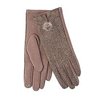 EuroStick Ladies Camel Herringbone Mini Pom Pom Glove