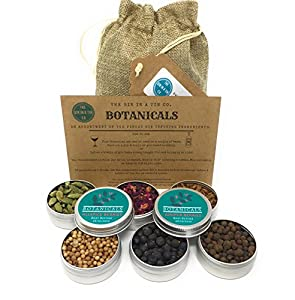 Gin Botanicals & Spices Gift Set– Garnish your Gin and Tonic with 6 different Botanicals | Infuse Gin and Tonic Cocktails | Includes Coriander, Juniper Berries, Allspice, Rose Petals, Cassia & Cardamom by Gin in a Tin