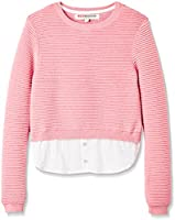 RED WAGON Girl's Mock Layer Knit, Pink (Pink/White), 6 Years