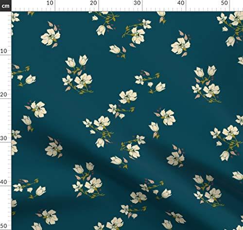 Bohemien, Vintage, Blumen, Botanisch, Holli Zollinger, Marine Stoffe - Individuell Bedruckt von Spoonflower - Design von Holli Zollinger Gedruckt auf Baumwoll Spandex Jersey -