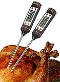 Termometro da cucina (2-Pack), Fosmon termometro digitale istantaneo Leggi con lunghi in acciaio inossidabile sonda e schermo LCD per l'alimentazione, a base di carne, cucina, barbecue, grill, Liquido, Petrolio