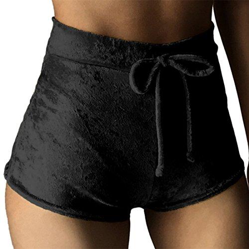 Vertvie Femme Drawstring Mini Shorts de Sport Plage Velours Casual Extensible Pantalon Court Taille Haute avec Cordon de Serrage Hanche Serrée pour Fitness Yoga Jogging Noir