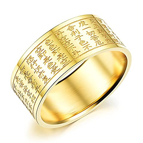 Fate Love 10mm Gold Plated Titanium Steel Prajna Heart Sutra Carving Men's Ring Engagement/Wedding Band