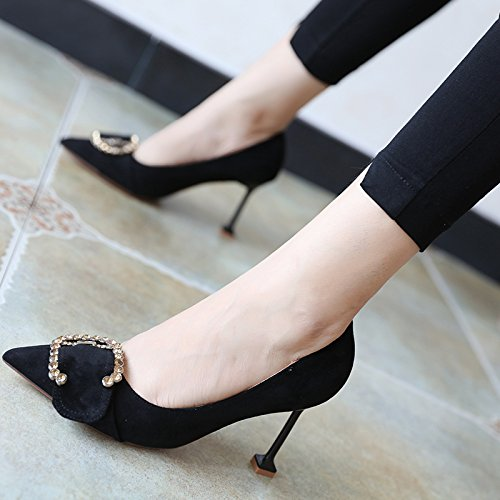 FLYRCX Ladies' affascinante personalità forte ammenda scamosciata tacco scarpe tacco B