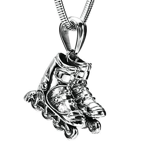 Daesar Schmuck Edelstahl Halsketten Herren Anhänger Halsketten Skates Skateboard Schuh Silber Halsketten 3X2.5CM