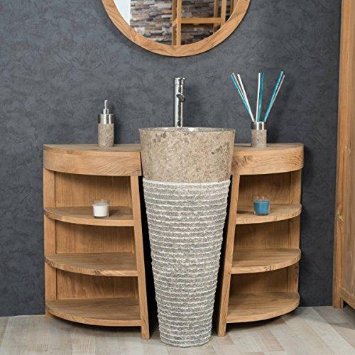wanda collection Meuble sous Vasque en Teck Florence 120cm + Vasque Gris