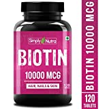 Simply Nutra Biotin 10000mcg, Enhanced with Calcium, Supports Hair Growth, Glowing Skin
