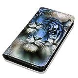 Hülle Galaxy J1 2016 Hülle Samsung J1 J120 Schutzhülle Handyhülle Flip Cover Case Samsung Galaxy J1 2016 J120 (OM1026 Tiger / Löwe Blau Weiß)
