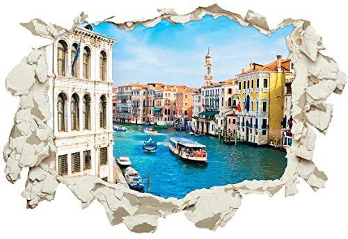 Unified Distribution Venedig, Italien - Wandtattoo mit 3D Effekt, Aufkleber für Wände und Türen Größe: 92x61 cm, Stil: Durchbruch
