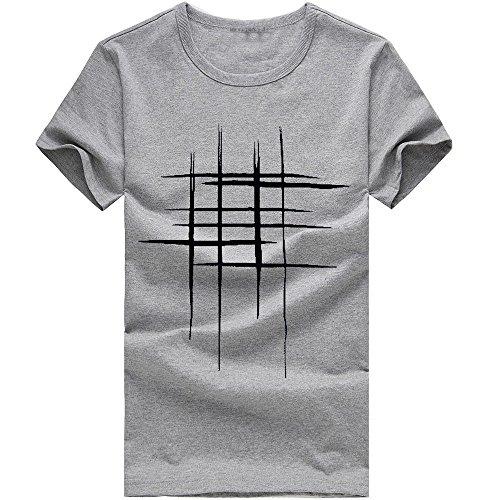 Top de Camiseta con Estampado de líneas para Hombre Interior Casual Slim  Fit Manga Corta Camisa 846467f0db86b