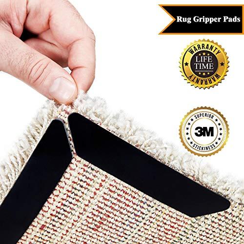 Rug grippers, adesivo antiscivolo angolo tappeto sottotappeto riutilizzabile per tappeti fissa angoli tappeto anti-arriccia, set di 8 pezzi (black)
