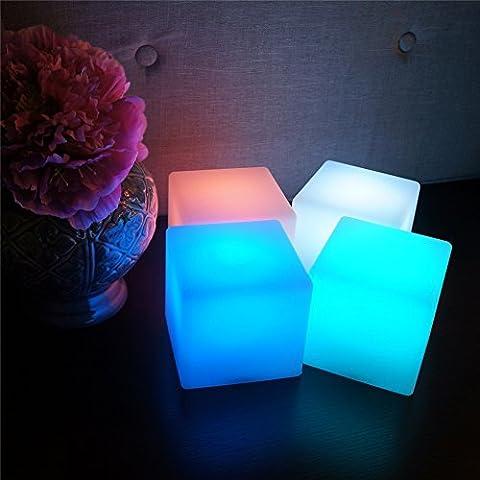 Lumière flottante LED Cube, couleur changeant de patio Flottant LED Lumière de balle d'ambiance, éclairage nocturne rechargeable pour décoration intérieure et extérieure