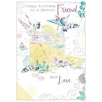 "Out of the blue Special Friend Birthday Card - Mason Jar, Lemons, Limes & Umbrella 7.75"" x 5.25"""