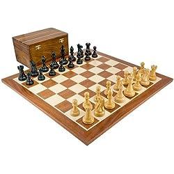 The Regency Chess Company, England Compertición Black & Sheesham Juego De Ajedrez con Funda