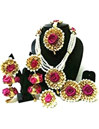 Floral Jewellery Magenta Pink Flower Gota Patti Jewellery Set With Earrings, Maang Tika, Bracelets & Ring For...