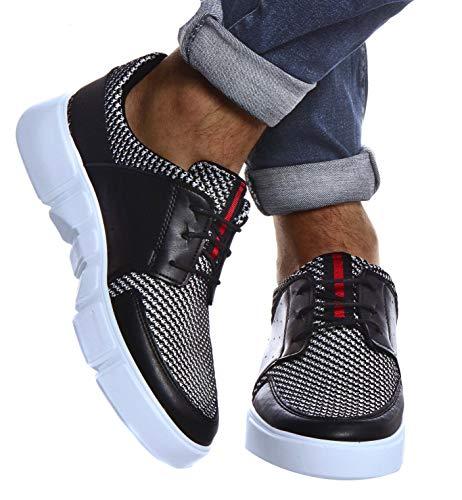 LEIF NELSON Herren Schuhe für Freizeit Sport Freizeitschuhe | Männer weiße Sneaker Sommer Coole Elegante Sommerschuhe Sportschuhe | Weiße Schuhe für Jungen Winterschuhe Halbschuhe LN884; 43, Schwarz