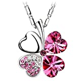 Chaomingzhen Pink Heart Four Leaf Clover Pendant Necklace Women Crystal White Gold Plated