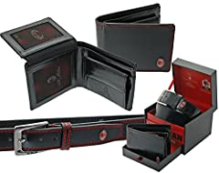 Idea Regalo - Parure Portafoglio + cintura regolabile Milan - colore Nero con cuciture rosse - cofanetto regalo