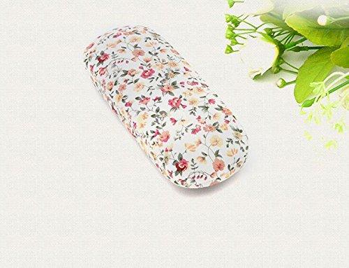 Huertuer Tragbar Brillen Schutzhülle Floral Eye Case Eyewear Displayschutzfolie Box (weiß) -