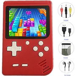QINGSHE Retro FC Consoles de Jeux Portables, QS-3 Console de Jeux Game Console 3.0 Pouces TFT Écran 400 Rétro Classique Jeux 1 Chargement USB, Grand Cadeau pour Les Enfants -Rouge