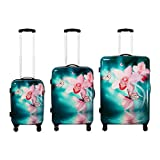 Polycarbonat Koffer-Set 3-teilig - Orchidee Reisekoffer Trolley Hartschalenkoffer - Koffer
