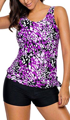 Bettydom Damen Tankini Summer Sporty 2 Stucke Yoga Fitness Blouson Tank Top mit Boyshorts mehrfarbig S-3XL Schwimmanzug Purpur
