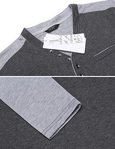 Burlady Tshirt Henleyshirt Langarmshirt mit Knopf Basic Longsleeve Shirt mit Henley Ausschnitt Herren 2 in 1 Sport Langarm Shirts Freizeit Männer A Grau