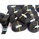 iapyx® - Correa con hebilla y cierre rápido de apriete (10 correas + 10 protectores de cantos, 4 m), color negro