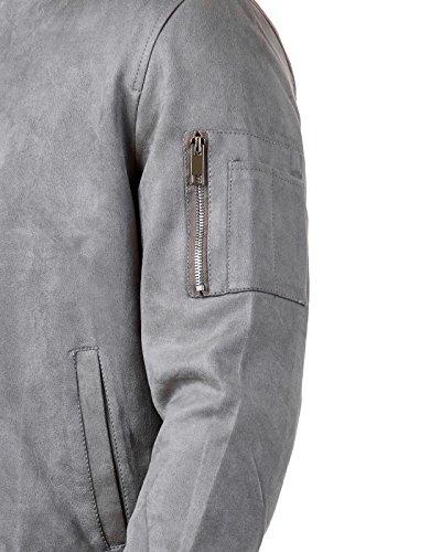 EightyFive Herren Bomber-Jacke Übergangsjacke Schwarz Khaki Camouflage EFS150, Größe:S, Farbe:Grau Suede - 4