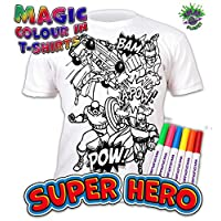 Splat Planet Colour-in Superhero T-Shirt with 6 Non-Toxic Washable Magic Pens - Colour-in and Wash Out T-Shirt
