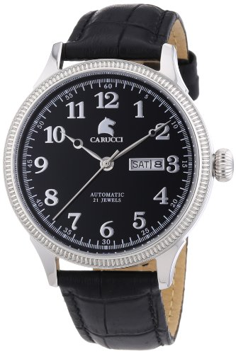 Carucci Watches  Prato - Reloj de automático para hombre, con correa de cuero, color negro