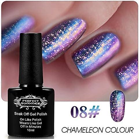 Perfect Summer 10ml Vernis à Ongles Paillette Semi Permanent Gel UV Caméléon Couleur Changeante Nail Art Manucures #08