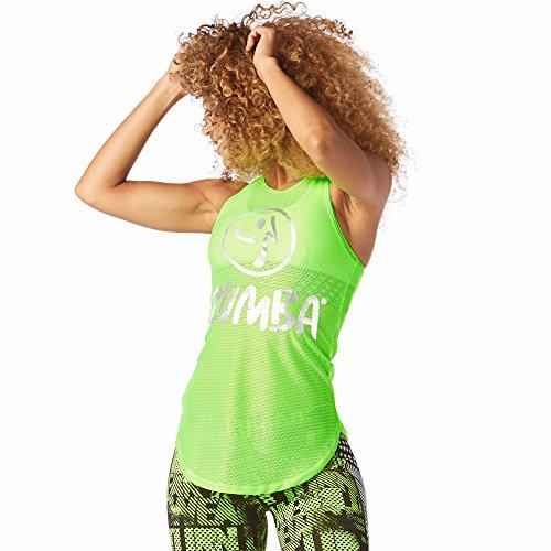 Zumba Fitness Damen Mesh of the Party Tight Tank Frauentop, Get in Lime, S (Zumba Tops Für Damen Grün)