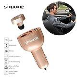 simpome 2in 1USB Auto Ladegerät mit Wireless Bluetooth Kopfhörer, Quick Charge 3.0Handsfree Bluetooth Kopfhörer Autoladegerät Adapter Kit, Stereo-Bluetooth V4.0Kopfhörer mit Mikrofon